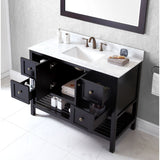 "Virtu USA Winterfell 48"" Espresso Single Bathroom Vanity Set with Marble Top - ES-30048-WM-ES - Bath Vanity Plus"