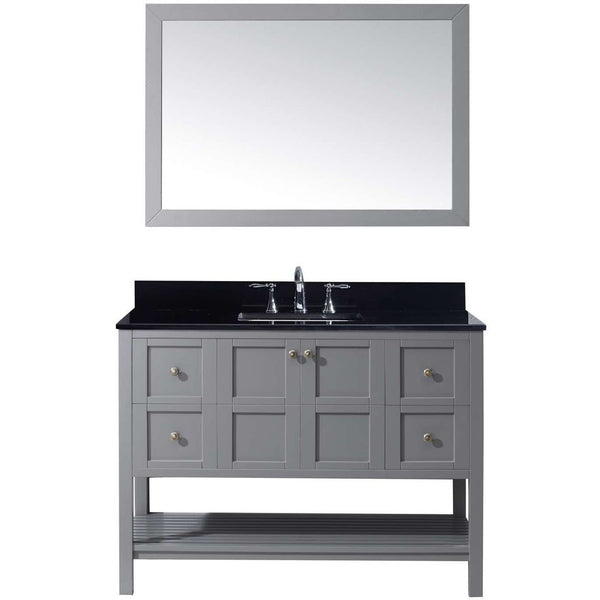 "Virtu USA Winterfell 48"" Gray Single Bathroom Vanity Set with Granite Top - ES-30048-BGSQ-GR - Bath Vanity Plus"
