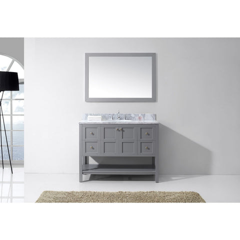 "Virtu USA Winterfell 48"" Gray Single Bathroom Vanity Set with Marble Top - ES-30048-WM-GR - Bath Vanity Plus"