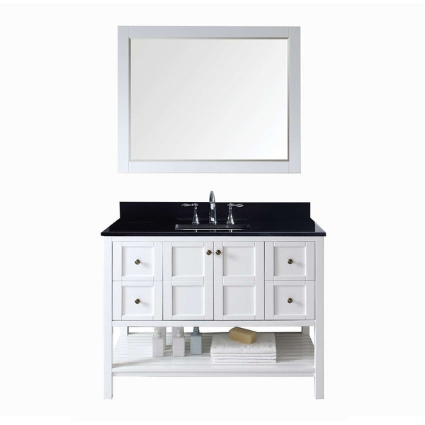 "Virtu USA Winterfell 48"" White Single Bathroom Vanity Set with Granite Top - ES-30048-BGSQ-WH - Bath Vanity Plus"