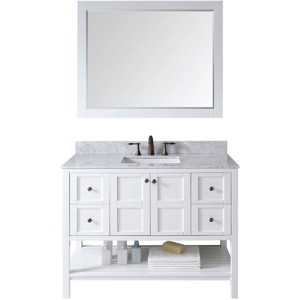 "Virtu USA Winterfell 48"" White Single Bathroom Vanity Set with Marble Top - ES-30048-WM-WH - Bath Vanity Plus"
