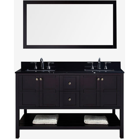 "Virtu USA Winterfell 60"" Espresso Double Bathroom Vanity Set with Granite Top - ED-30060-BGSQ-ES - Bath Vanity Plus"