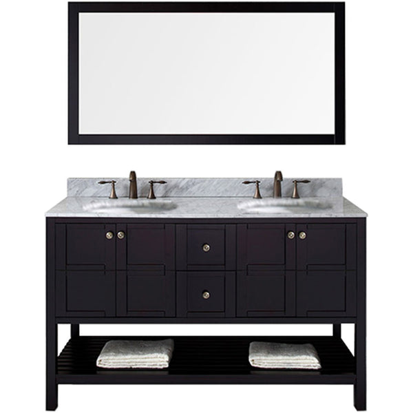 "Virtu USA Winterfell 60"" Espresso Double Bathroom Vanity Set with Marble Top - ED-30060-WM-ES - Bath Vanity Plus"