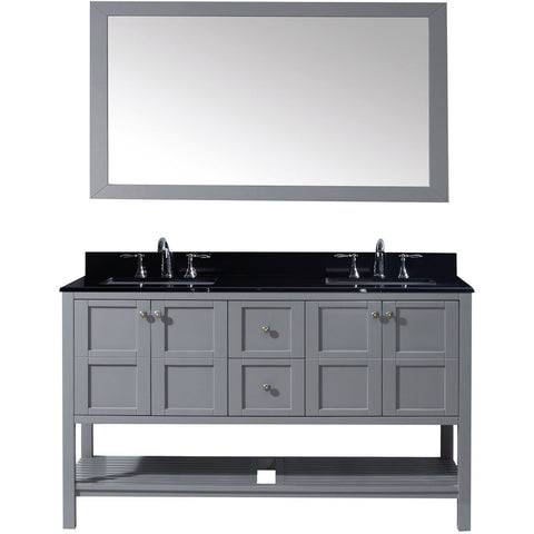 "Virtu USA Winterfell 60"" Gray Double Bathroom Vanity Set with Granite Top - ED-30060-BGSQ-GR - Bath Vanity Plus"