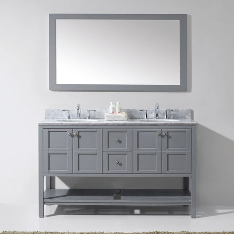 "Virtu USA Winterfell 60"" Gray Double Bathroom Vanity Set with Marble Top - ED-30060-WM-GR - Bath Vanity Plus"