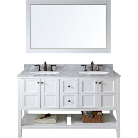 "Virtu USA Winterfell 60"" White Double Bathroom Vanity Set with Marble Top - ED-30060-WM-WH - Bath Vanity Plus"