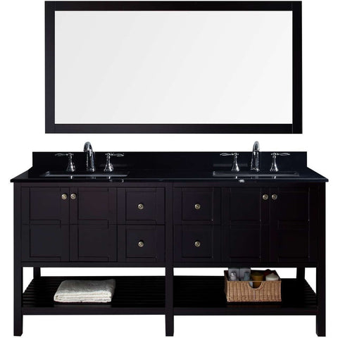 "Virtu USA Winterfell 72"" Espresso Double Bathroom Vanity Set with Granite Top - ED-30072-BGSQ-ES - Bath Vanity Plus"