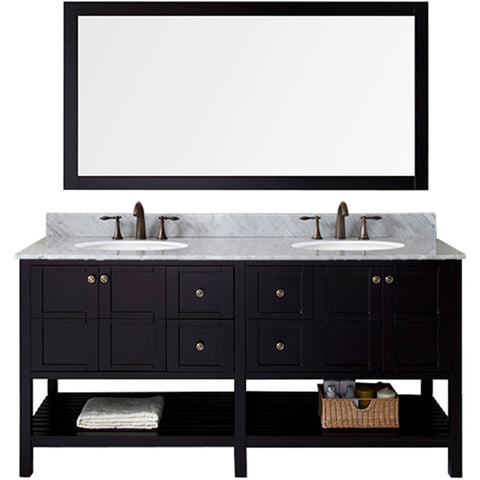 "Virtu USA Winterfell 72"" Espresso Double Bathroom Vanity Set with Marble Top - ED-30072-WM-ES - Bath Vanity Plus"