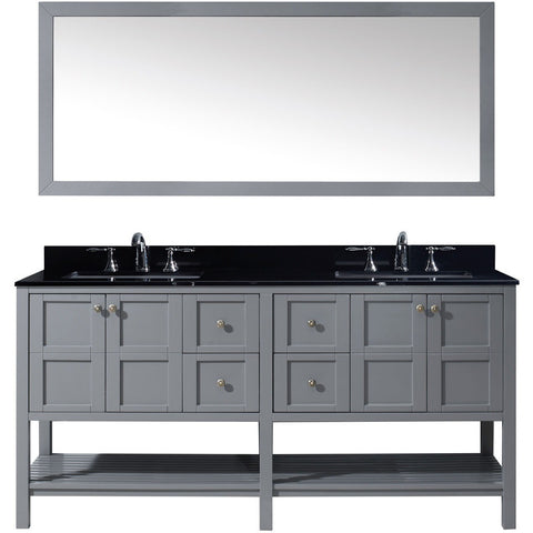 "Virtu USA Winterfell 72"" Gray Double Bathroom Vanity Set with Granite Top - ED-30072-BGSQ-GR - Bath Vanity Plus"