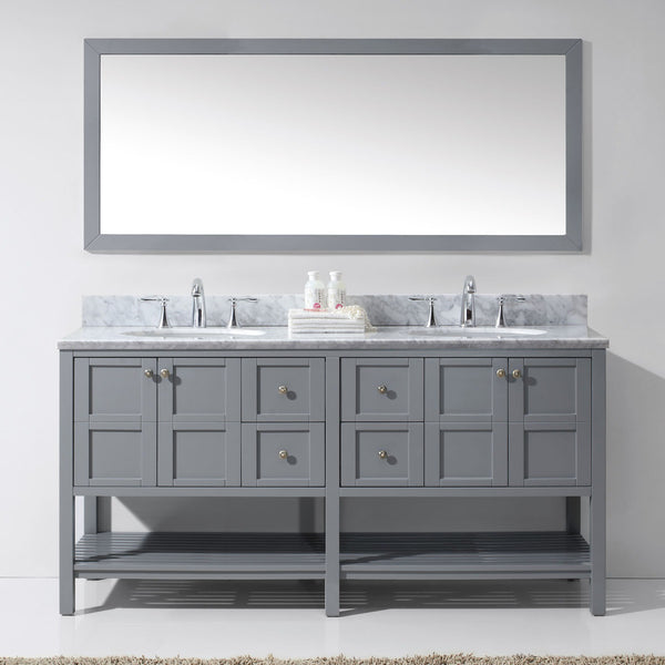 Virtu Usa Winterfell 72 Gray Double Sink Vanity Set With Marble Top