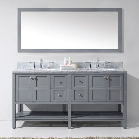 "Virtu USA Winterfell 72"" Gray Double Bathroom Vanity Set with Marble Top - ED-30072-WM-GR - Bath Vanity Plus"