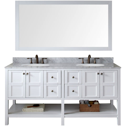 "Virtu USA Winterfell 72"" White Double Bathroom Vanity Set with Marble Top - ED-30072-WM-WH - Bath Vanity Plus"