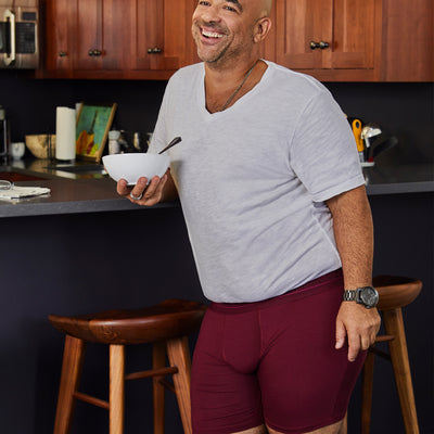 Journeyman premium size boxer briefs for big and tall men. XL, XXL, 3XL, 4XL. Champagne, Port, Black. option=port