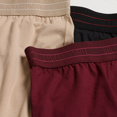 Journeyman premium size boxer briefs for big and tall men. XL, XXL, 3XL, 4XL. Champagne, Port, Black