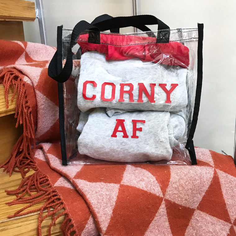 Corny AF- clear stadium tote (2 for $16)