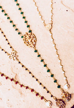 Y-drop rosary necklace ruby