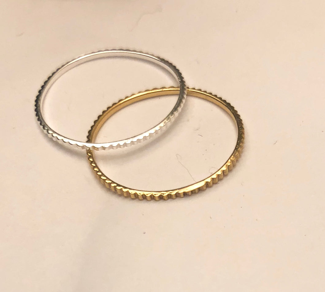 ridged ultra thin stacking ring