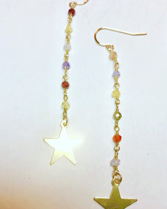 technicolor star earrings