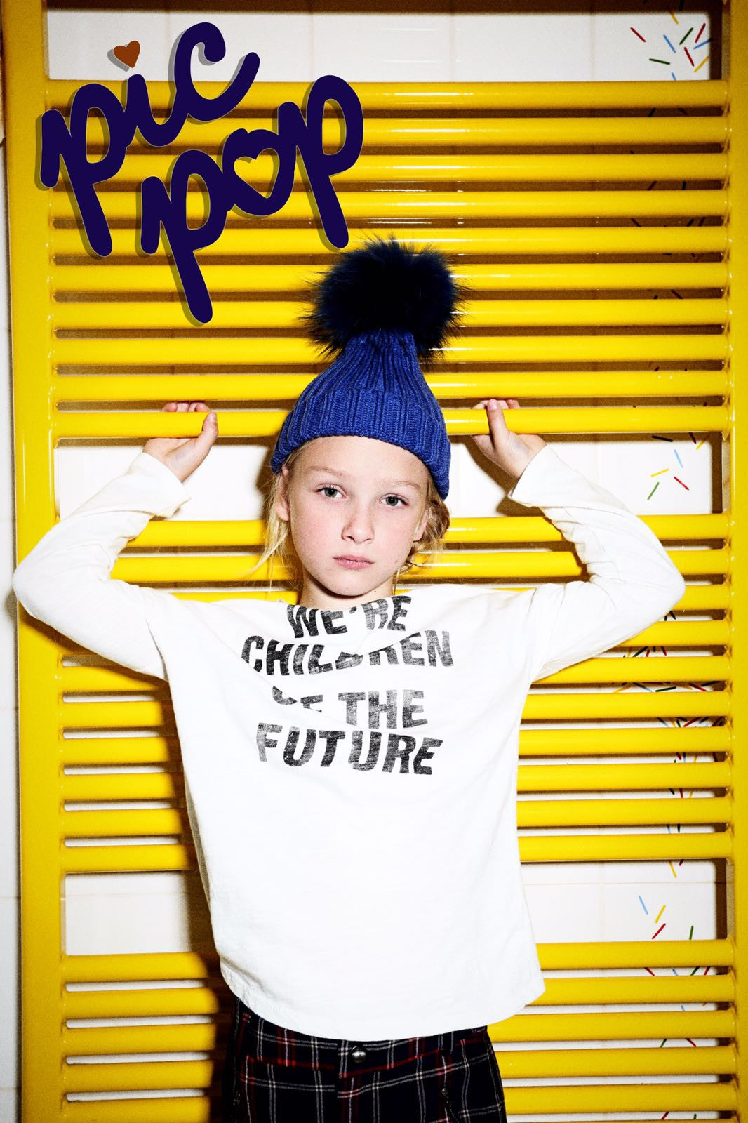 The PicPop Kid in Electric Blue Pom Pom Hat shot by Craig Fleming