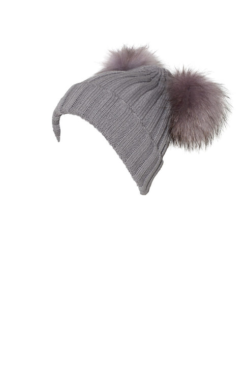 PicPop Adult Light Grey Hat With Raccoon Fur Double Pom Pom