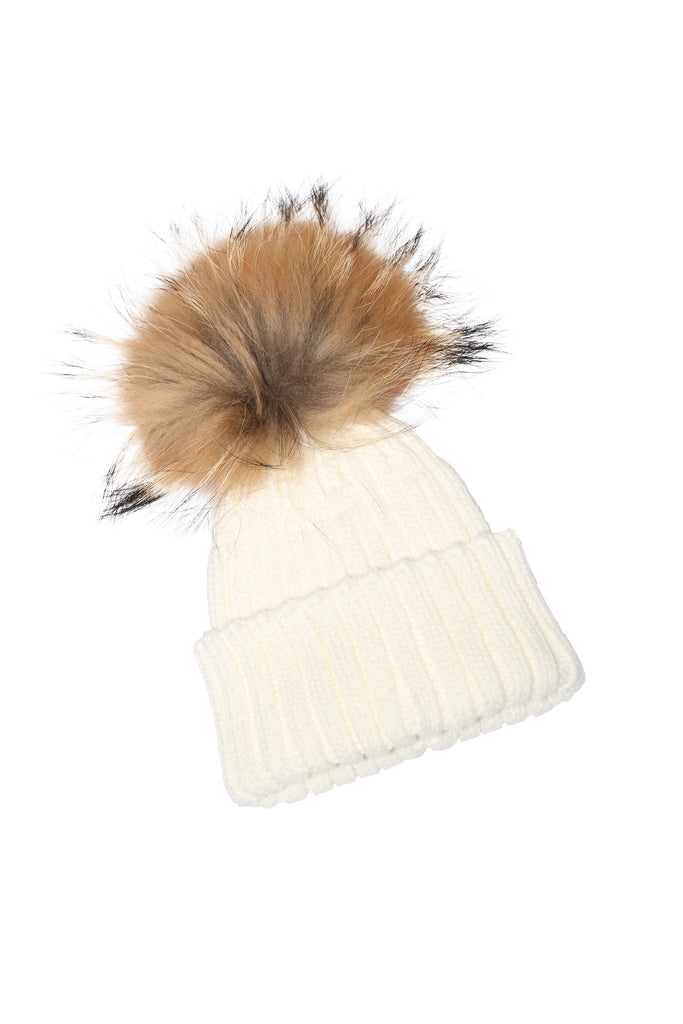 Adult Natural Raccoon Fur Pom Pom Hat - Cream - Pic Pop