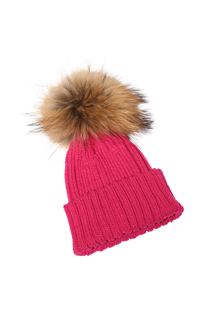 Adult Natural Raccoon Fur Pom Pom Hat - Hot Pink - Pic Pop
