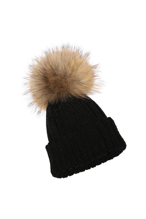 Kid's Natural Raccoon Fur Pom Pom Hat - Black - Pic Pop