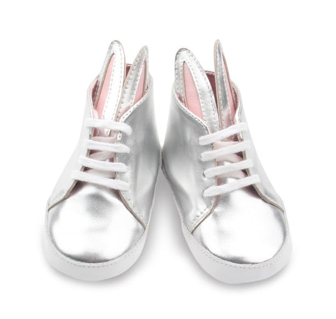 PicPop Baby Bunny Shoes Sizes 6 - 18 months in Metallic Silver