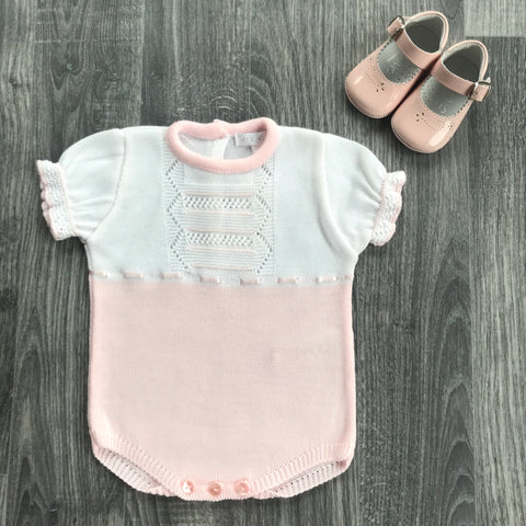 Zip Zap Baby Girl Pink Knitted Romper with Pram Shoes