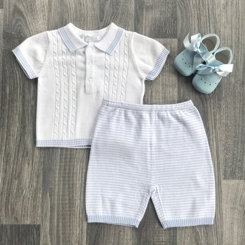 Zip Zap Baby Boy Cable Knit Polo Shirt and Pant Set