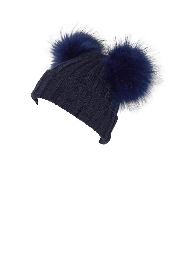 PicPop Adult Knitted Navy Hat With Raccoon Fur Double Pom Poms – Pic Pop a6c93299aa2