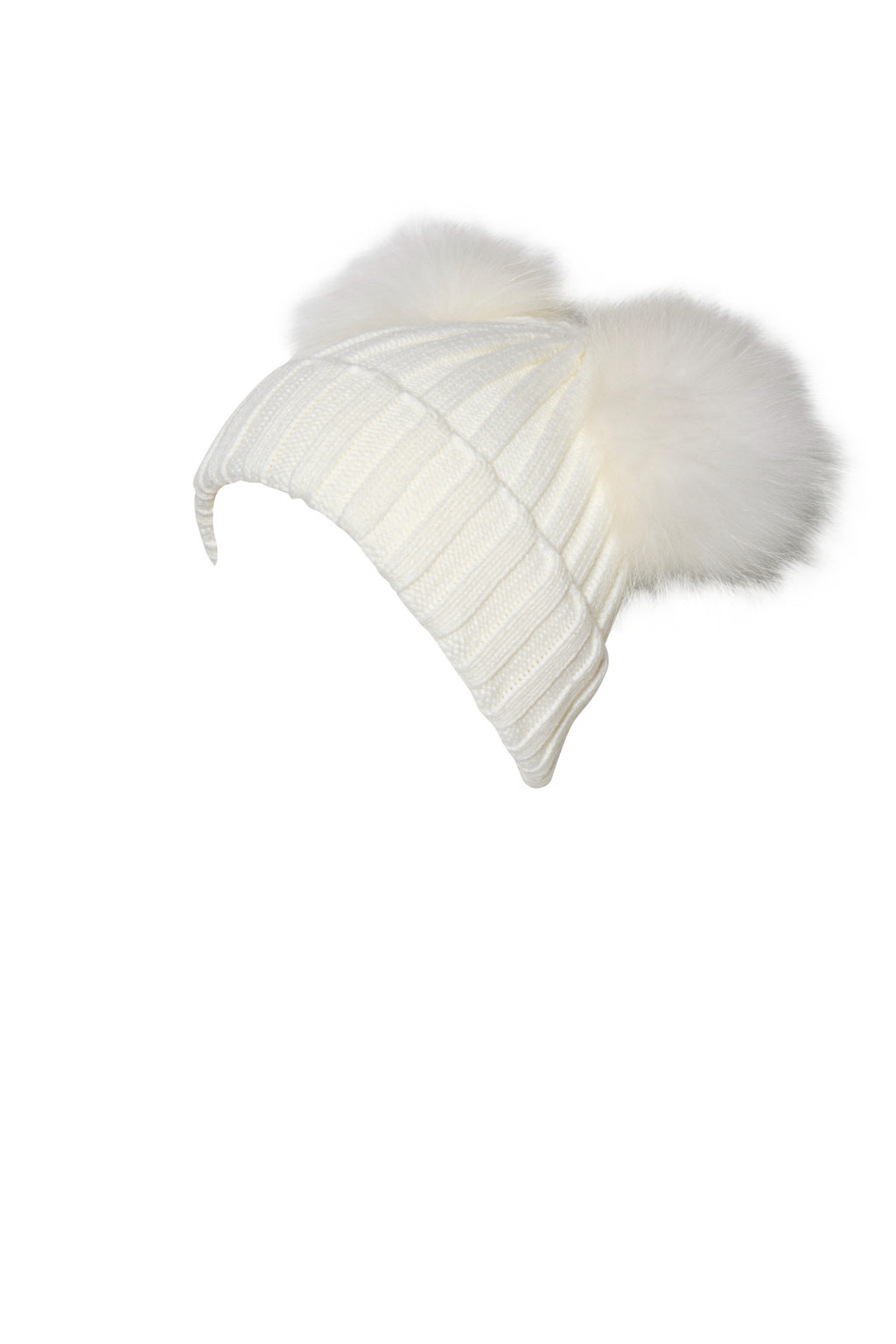 Adult White Raccoon Fur Double Pom Pom Hat - White - Pic Pop