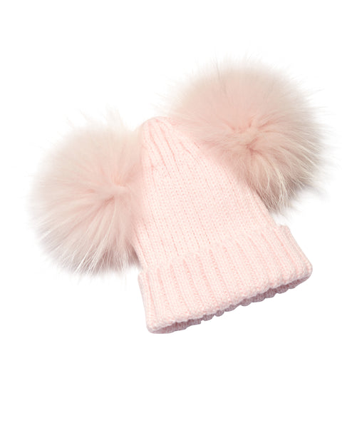 Kid's Baby Pink Raccoon Fur Double Pom Pom Hat - Baby Pink - Pic Pop