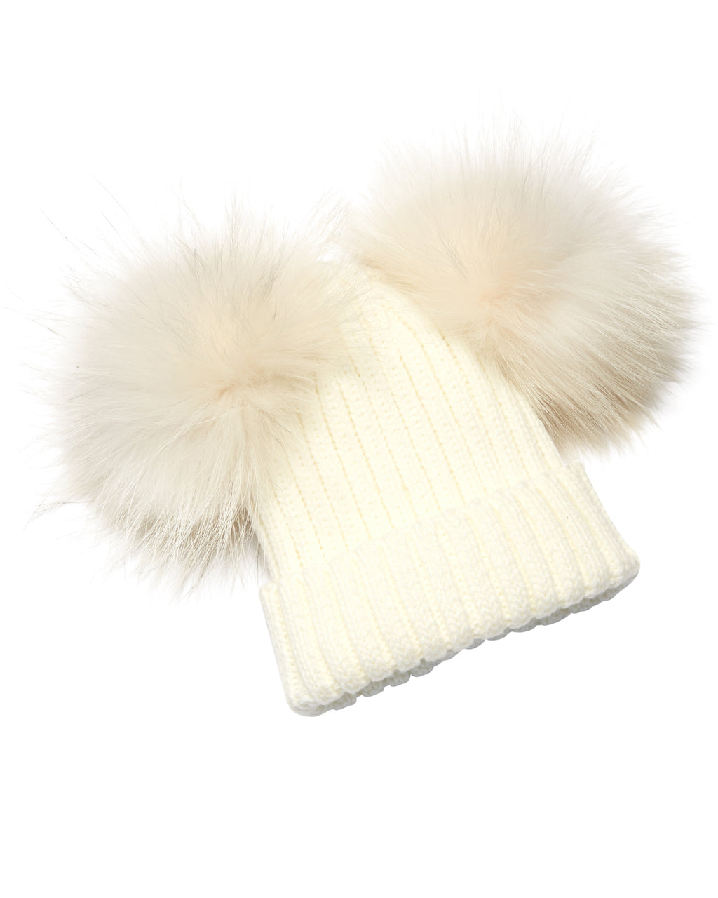 Kid's White Raccoon Fur Double Pom Pom Hat - White - Pic Pop