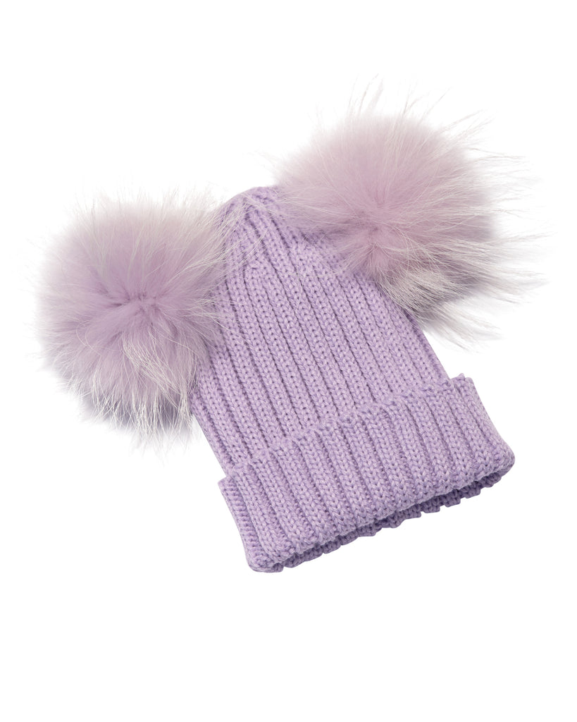 Kid's Purple Raccoon Fur Double Pom Pom Hat - Purple - Pic Pop