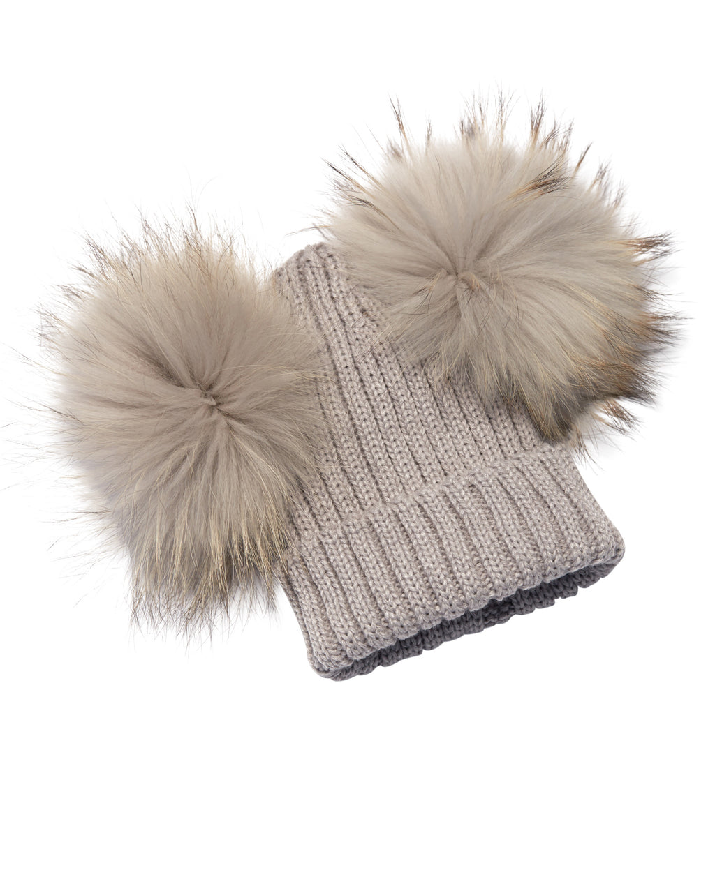 Kid's Light Grey Raccoon Fur Double Pom Pom Hat - Grey - Pic Pop