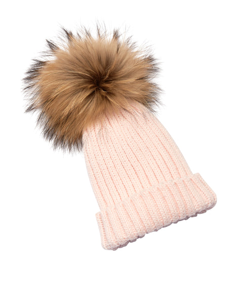 Kid's Natural Raccoon Fur Pom Pom Hat - Baby Pink - Pic Pop