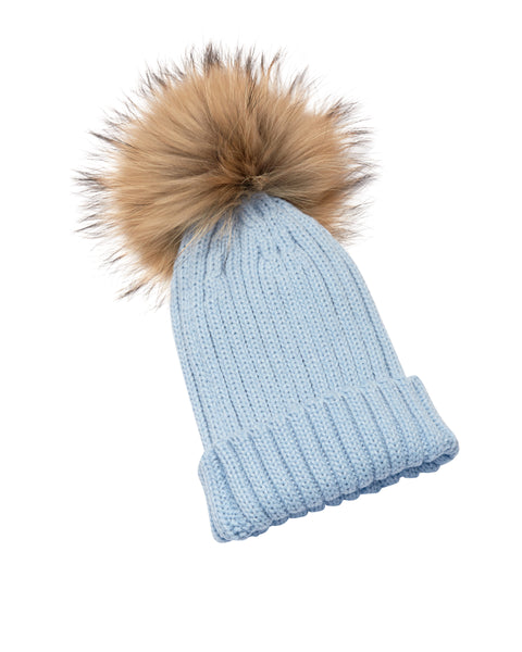 Kid's Natural Raccoon Fur Pom Pom Hat - Baby Blue - Pic Pop