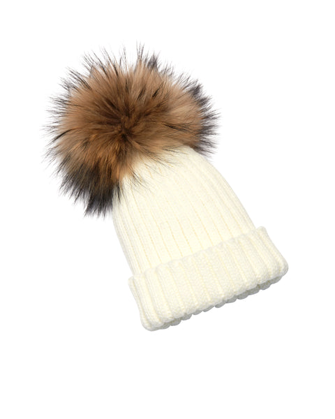 Kid's Natural Raccoon Fur Pom Pom Hat - Cream - Pic Pop