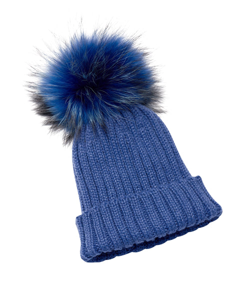 PicPop Adult Electric Blue Hat with Raccoon Fur Pom Pom