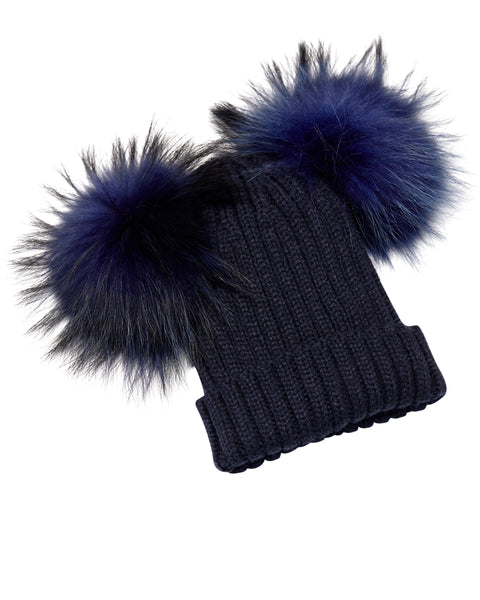 Kid's Navy Raccoon Fur Double Pom Pom Hat - Navy - Pic Pop