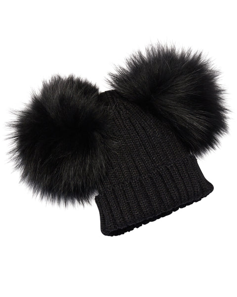 Kids's Black Raccoon Fur Double Pom Pom Hat - Black - Pic Pop