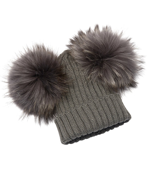 Kid's Dark Grey Raccoon Fur Double Pom Pom Hat - Dark Grey - Pic Pop