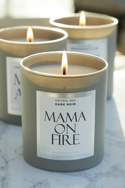 PicPop Mama on Fire Natural Wax Candle in Dark Noir