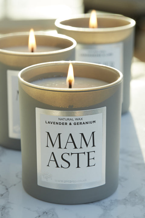 Mamaste Natural Wax Candle in Lavender and Geranium