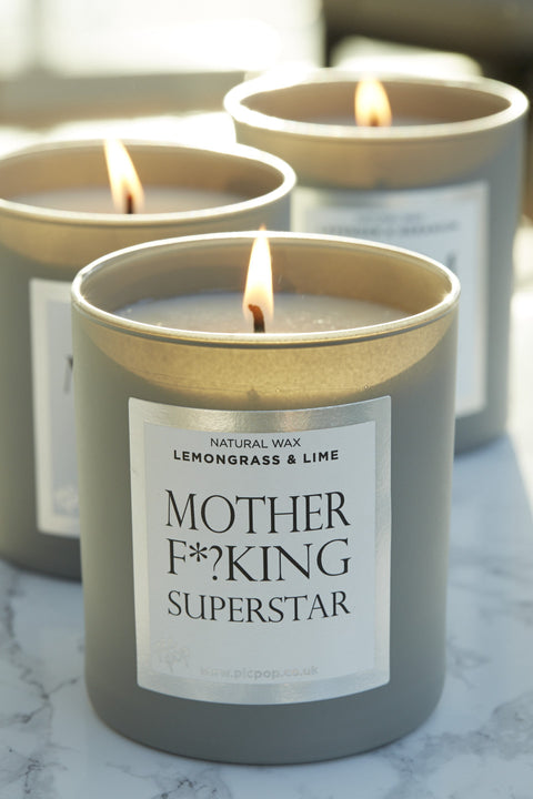 PicPop Mother F*?king Superstar Natural Wax Candle in Lemongrass and Lime