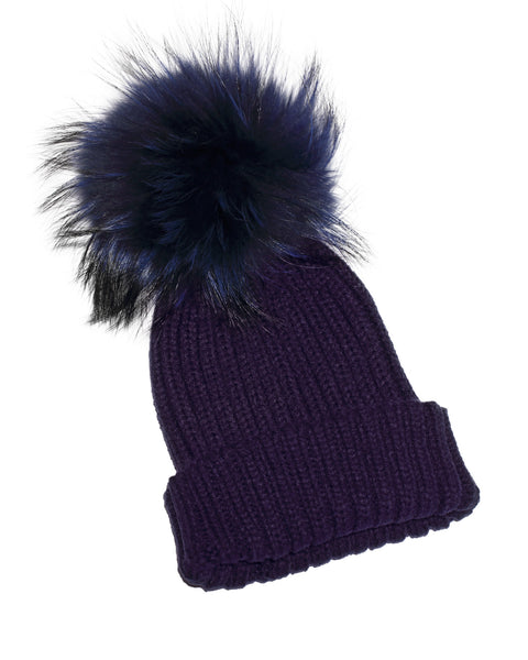 Adult Navy Raccoon Fur Pom Pom Hat - Navy - Pic Pop