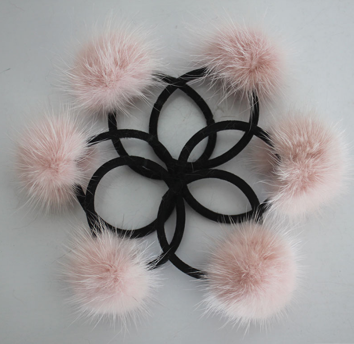 PicPop Mink Pompom Hair Bobble - Baby Pink - Pic Pop