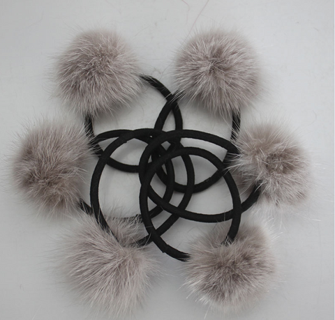 PicPop Mink Pompom Hair Bobble - Mink - Pic Pop