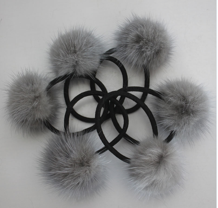 PicPop Mink Pompom Hair Bobble - Grey - Pic Pop